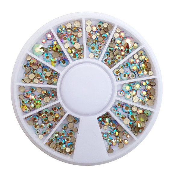 Clear AB Gold Flatback Crystal Mixed Rhinestone Wheel - 240PCS (1mm-5mm)