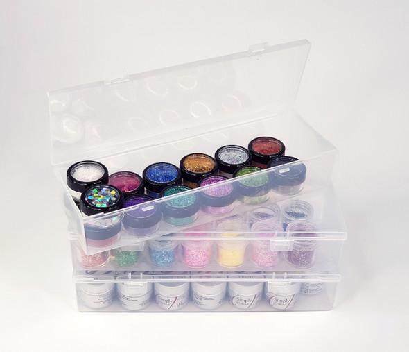 Empty Plastic Container Box Storage for Nail Art Glitter (24.8cm X 7.7cm X 4.6cm)