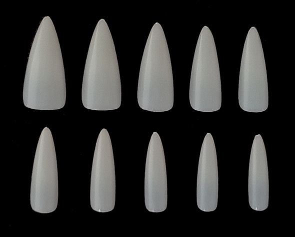 NEW Full Cover Short Stiletto Pointed Nail Tips - Natural