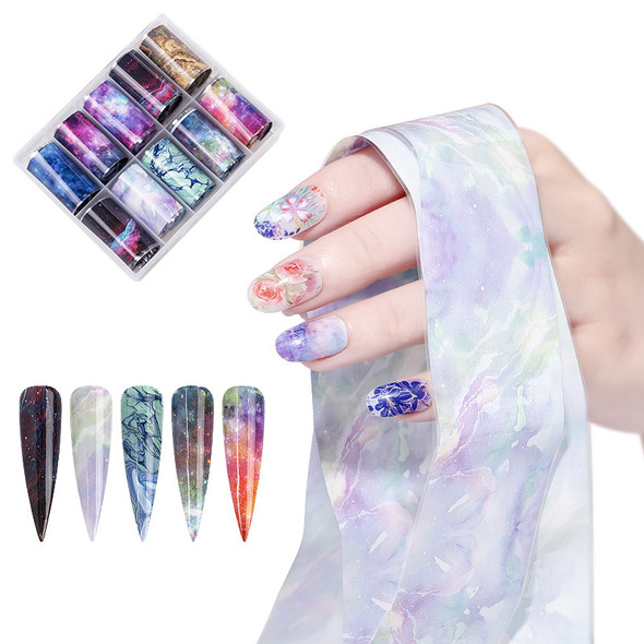 Cosmic Space Galaxy Nail Art Transfer Foil Set (10 Designs Per Box)