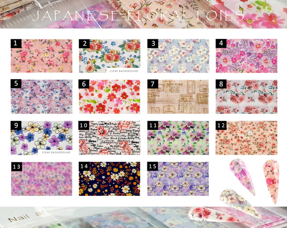 Japanese Floral Nail Art Foils (15 Designs Available)