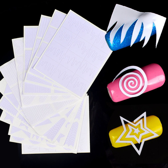 12PCS Nail Art Stencil Pack (12 Different Shapes & Varied Sizes)