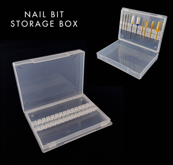 Nail Drill Bit Empty Storage Case Box (Holds 14 Bits) - Great for travel!