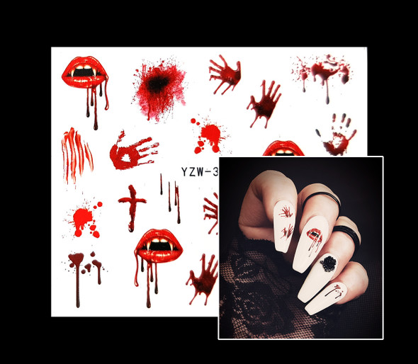 Best Spooky Nail Water Decals (Blood, Bullets, Vampire Halloween Nails)