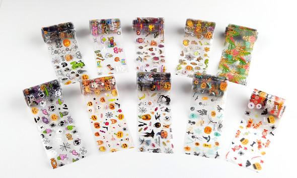 Halloween Nail Art Transfer Foil Set (10 Designs Per Box) - Pumpkins, Spiders, Skeletons & More!