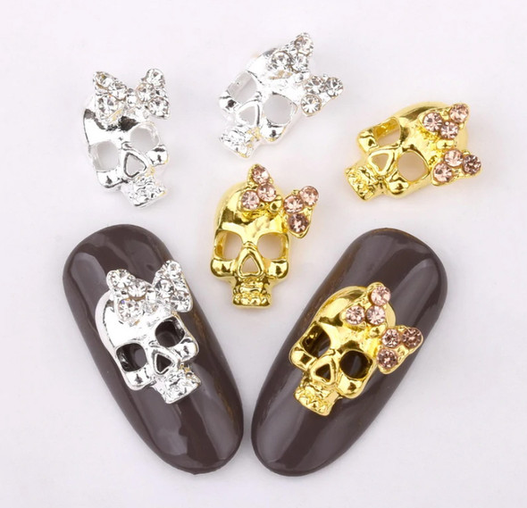 Silver & Gold Crystal Sugar Skulls with Bows - Great for Halloween!