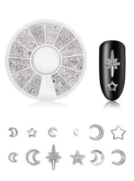Moon Star Astrology Metal Charm 3D Nail Art Wheel (Available in Gold or Silver)