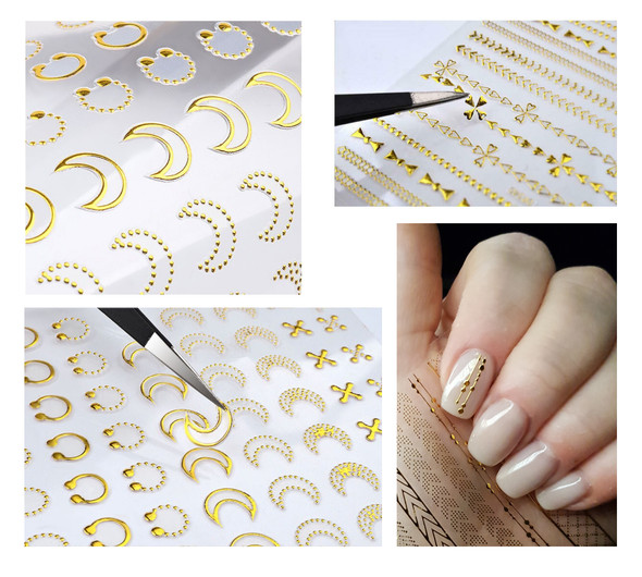 Application of Peel & Stick Gold Nail Stickers