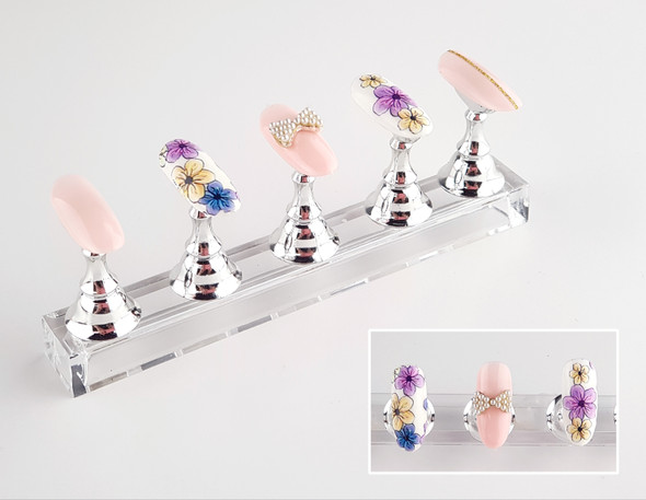 5PC Clear & Silver Magnetic Nail Art Stand for Tips