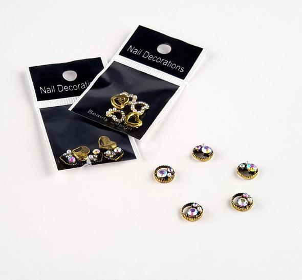 Vintage Style Round Metal Nail Art Jewel Charms (5PCS/BAG)