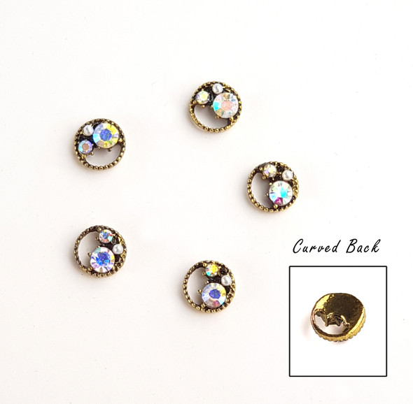 Vintage Style Round Metal Nail Art Jewel Charms - Curved Backs