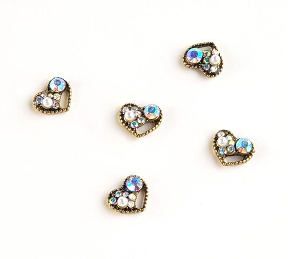 Vintage Style Heart Metal Nail Art Jewel Charms (5PCS/BAG)