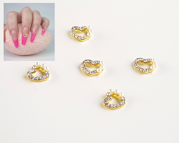 Wedding Style Heart Metal Nail Art Jewel Charms (5PCS/BAG)