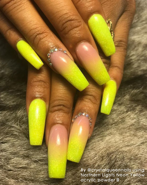 Example - INM Northern Lights Holographic Neon Yellow Glitter Acrylic