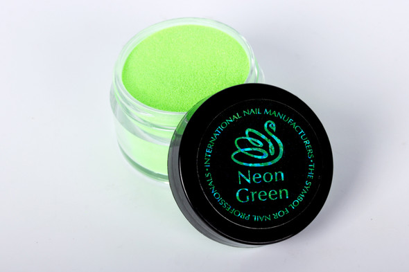 INM Northern Lights Holographic Neon Green Glitter Acrylic Nail Powder 15gm