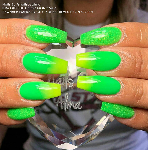 Example - INM Northern Lights Holographic Neon Green Glitter Acrylic Nail Powder