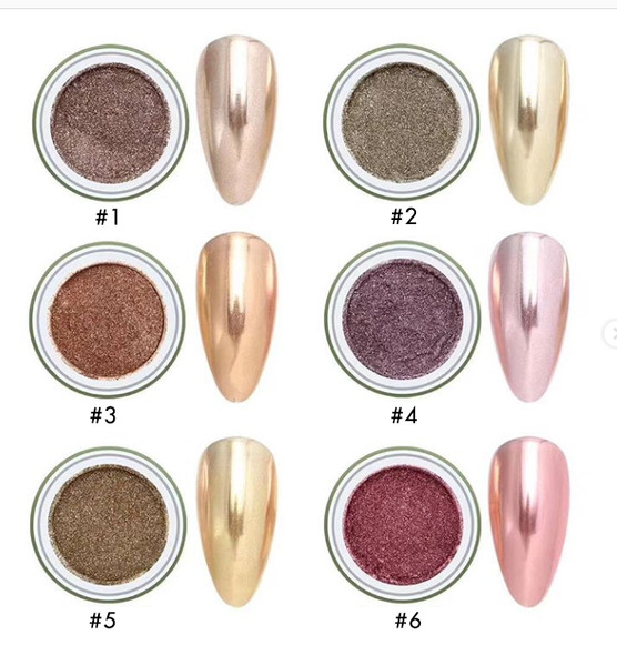 Gold Nail Pigment Powder Series (Available in 6 Shades of Gold). Chrome Nails.
