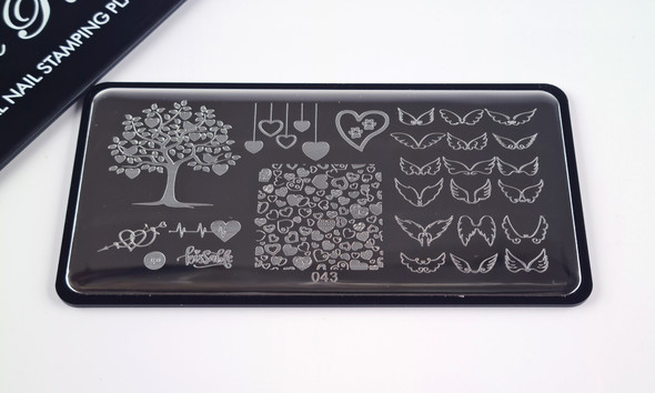 Pamper Plates Professional Nail Stamping Plates - Design #43 (Angel Wings, Heart Tree, Love Hearts, Heartbeat)