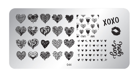 Pamper Plates Professional Nail Stamping Plates - Design #44 (Single Hearts, Kisses, XOXO)