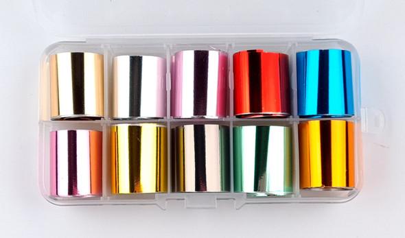 Solid Metallic Chrome Colored Nail Art Transfer Foil Set (10 Designs Per Box)