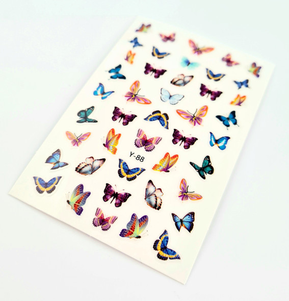 Soft Coloured Butterfly Nail Stickers (Ultra Thin Peel & Stick)