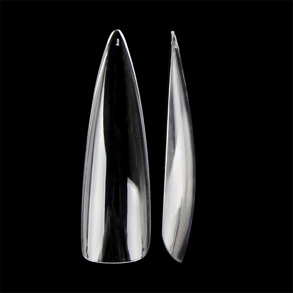 Full Cover XX Long Clear Stiletto Pointed Nail Tips (Bag of 504PCS, 12 Sizes)
