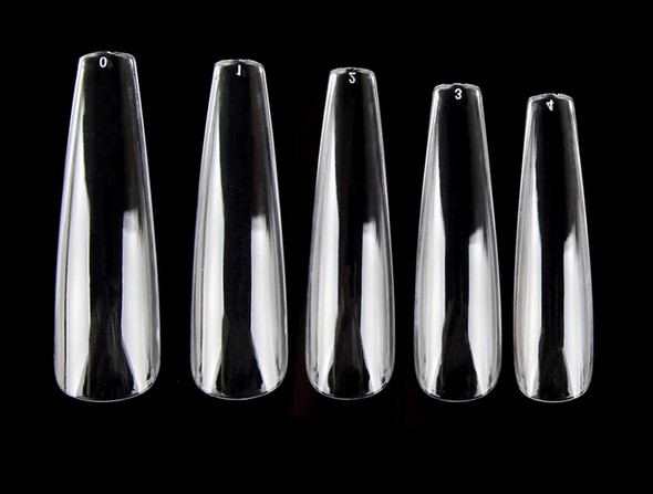XXL Full Half-Well Nail Cover Ballet Coffin Nail Tips - Clear (Bag of 504PCS)