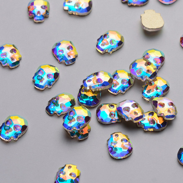 2PCS Skull Flatback Rhinestones Crystal AB for Nail Art - Great for Halloween! (6mm*8mm)