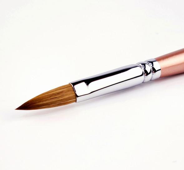 Professional Kolinsky Sable Acrylic Brush Oval Long #8 - Soft  Apricot Pearl Handle