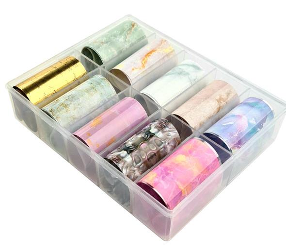 Marbling Nail Art Transfer Foil Set (10 Designs Per Box)