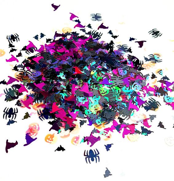 Halloween Nail Art Glitter Mix (Bats, Witches Hats, Pumpkins, Spiders, Cats)