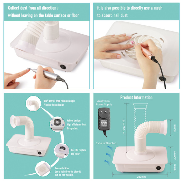 12W Professional Nail Dust Collector/Extraction Fan (2 Style Suction Options)