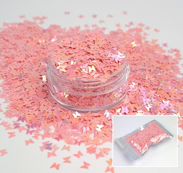 Pink Iridescent Butterfly Glitter for Nail Art 3mm - 1oz Bag