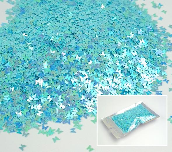Blue Iridescent Butterfly Glitter for Nail Art 3mm - 1oz Bag