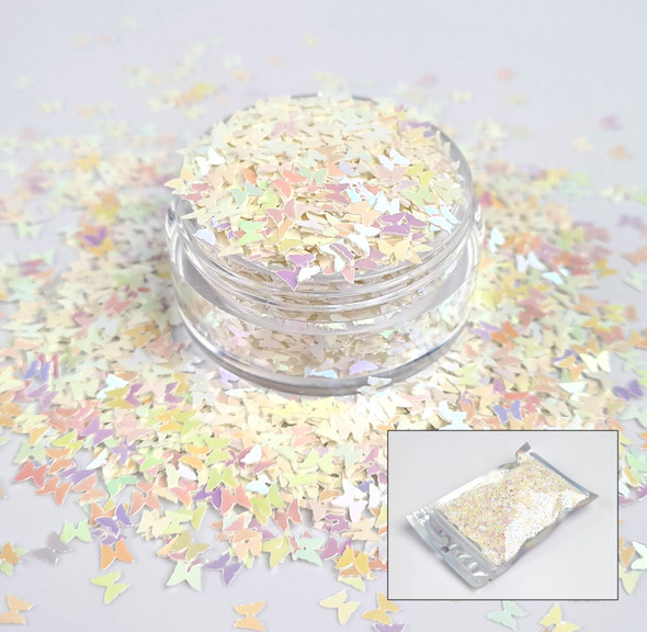TNS White Iridescent Butterfly Glitter for Nail Art 3mm - 1oz Bag