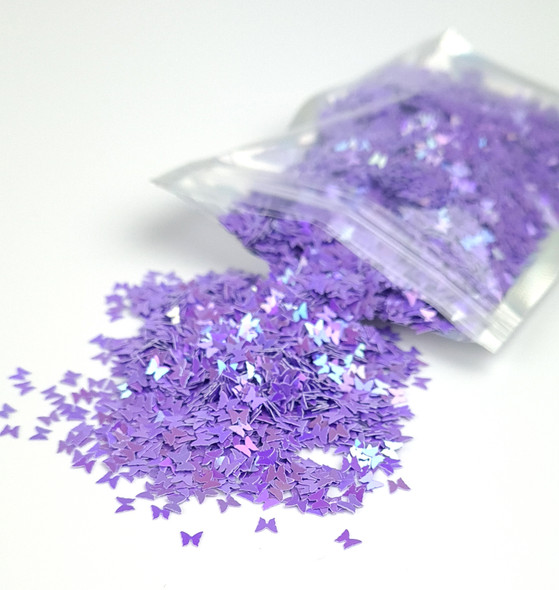 TNS Purple Iridescent Butterfly Glitter for Nail Art 3mm - 1oz Bag