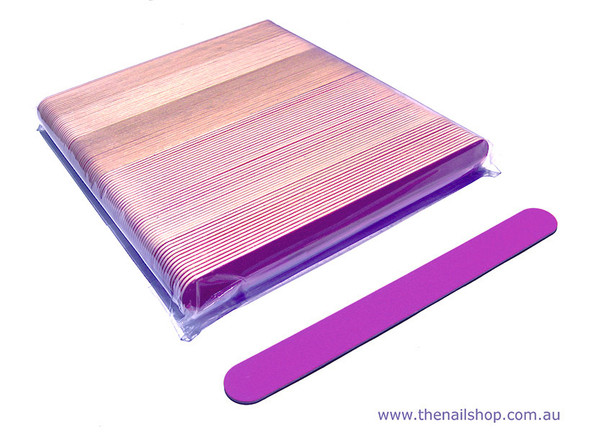 Large Pink Wooden Natural Manicure Nail Files 180/240 (50 OR 100PCS)