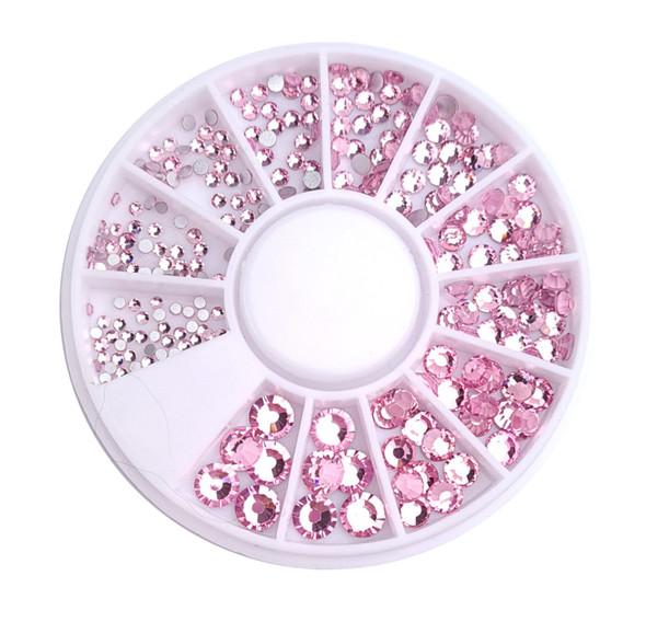 Light Pink Flatback Round Rhinestone Crystal Nail Art Wheel (240PCS) - 9 Different Sizes