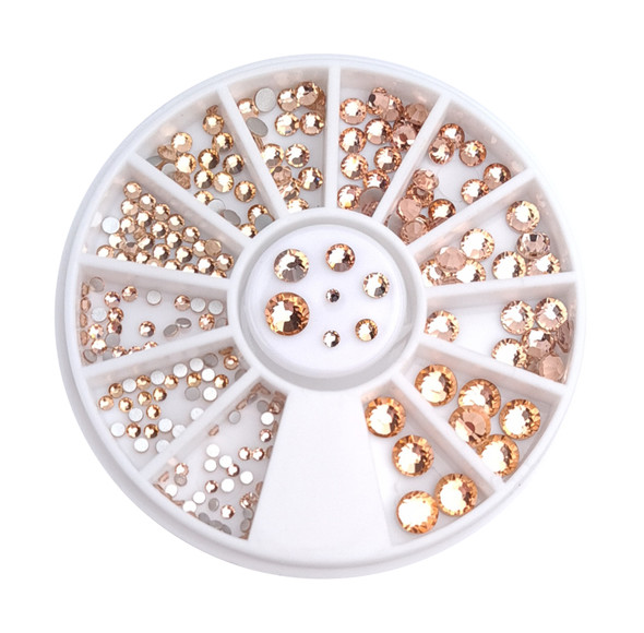 Light Peach Champagne Flatback Round Rhinestone Crystal Nail Art Wheel (240PCS) - 9 Different Sizes
