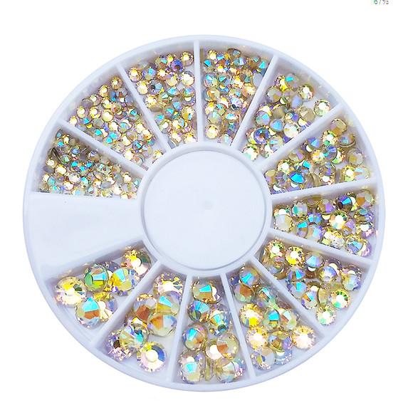 Rainbow Jonquil AB Flatback Round Rhinestone Crystal Nail Art Wheel (240PCS) - 9 Different Sizes