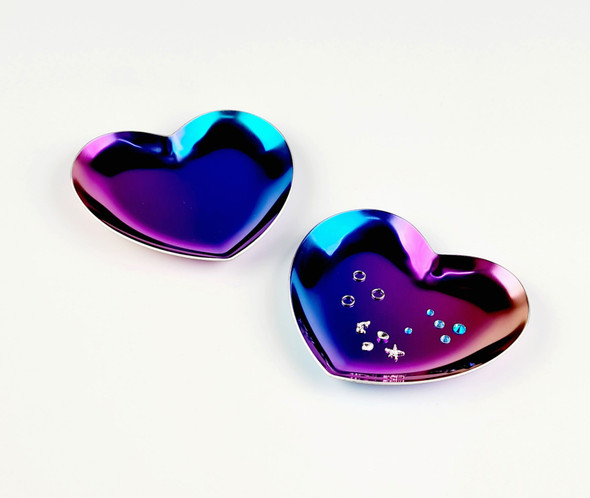 Rainbow Heart Metal Nail Art Decoration Dish