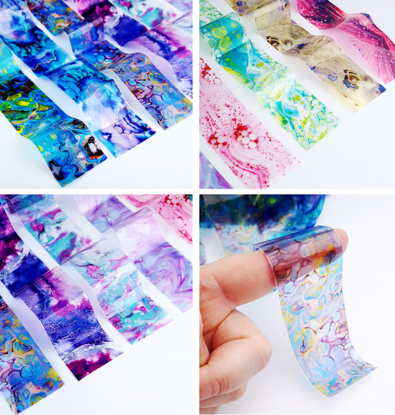Transparent Coloured Marbling Nail Art Transfer Foil Set (10 Designs Per Box)