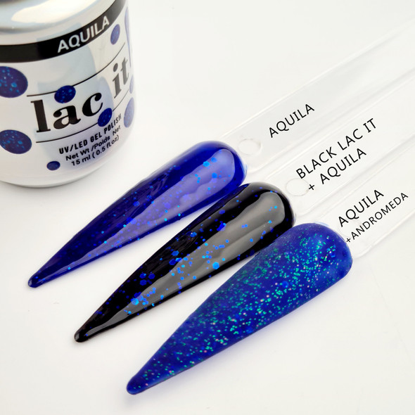 Lac It!™ Advanced Formula Gel Polish 15ml - Aquila (Starry Night Collection). Transparent Blue Gel Polish with Glitter.