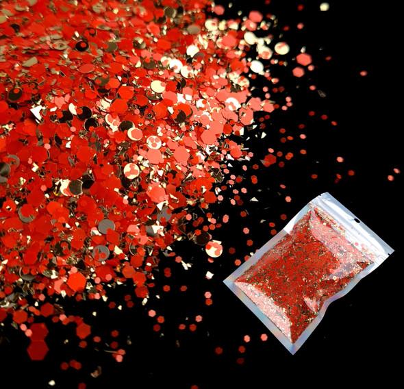 TNS Red & Gold Celebrations Glitter Mix for Nail Art - 1oz Bag