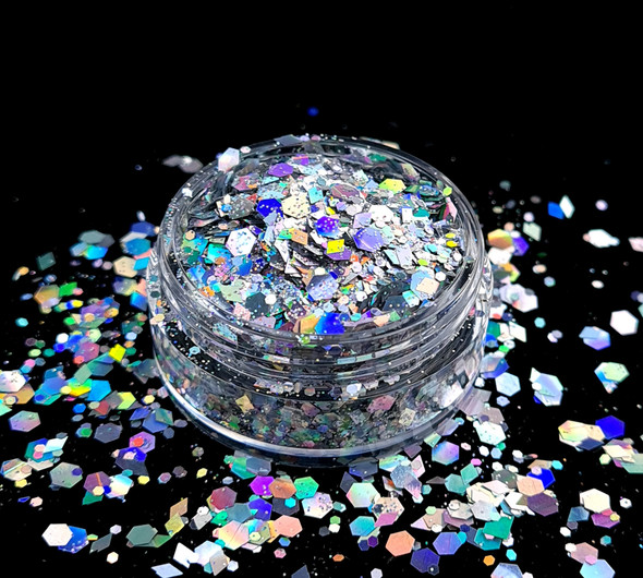 TNS Holographic Silver Glitter Bomb Mix for Nail Art - 1oz Bag