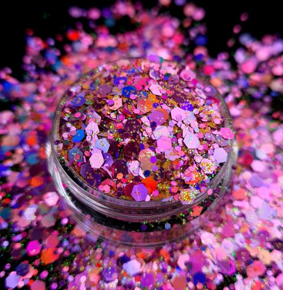 TNS Pink Pizzazz Glitter Mix for Nail Art - 1oz Bag