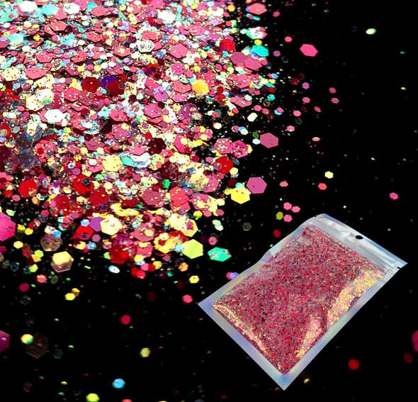 TNS Cherry Pizzazz Glitter Mix for Nail Art - 1oz Bag