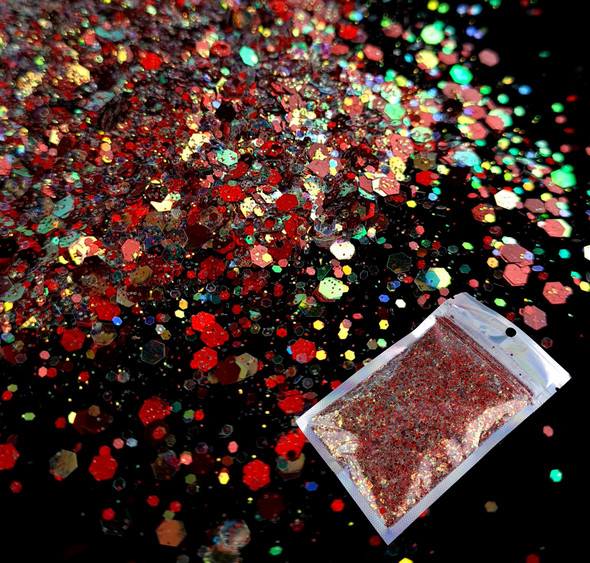 TNS Red Pizzazz Glitter Mix for Nail Art - 1oz Bag