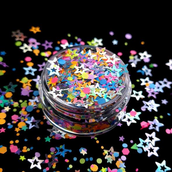 TNS Pastel & Silver Suprise Glitter Mix for Nail Art - 1oz Bag