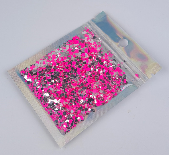 TNS Pink & Silver 80's Rock Glitter Mix for Nail Art - 10ml Bag (Valentines Day)